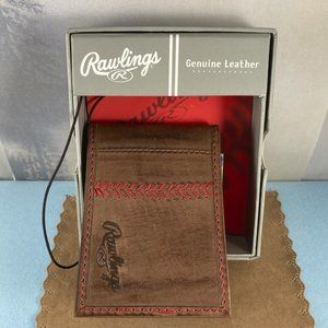 Rawlings Mens Red Stitch Front Pocket Brown Wallet